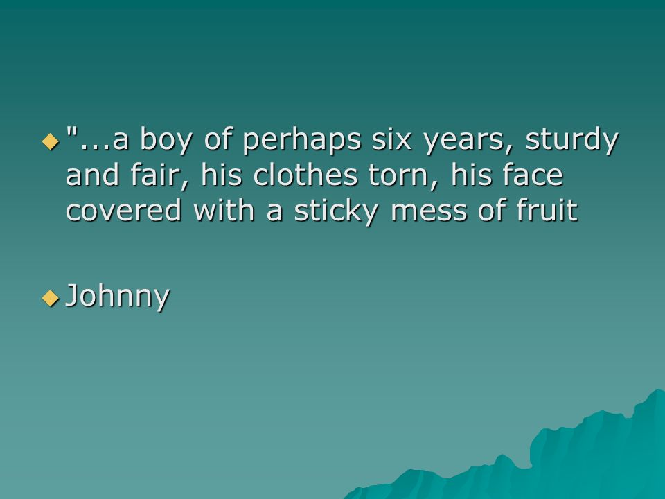 ...a boy of perhaps six years, sturdy and fair, his clothes torn, his face covered with a sticky mess of fruit