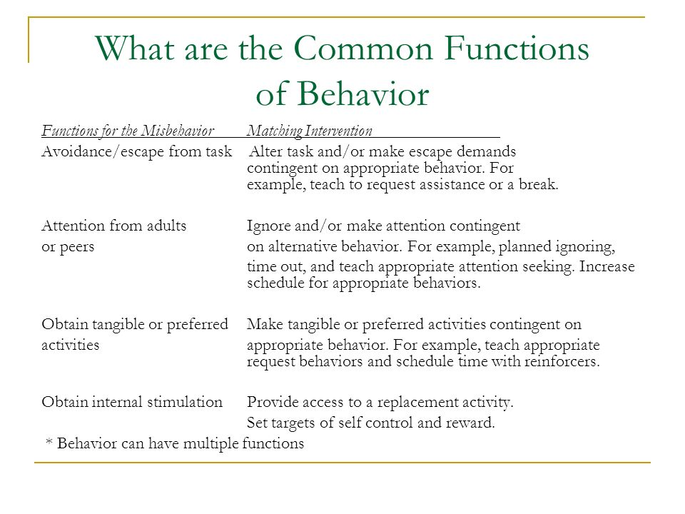 What are the Common Functions of Behavior