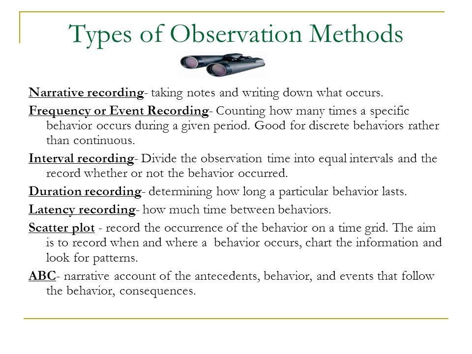 Types of Observation Methods
