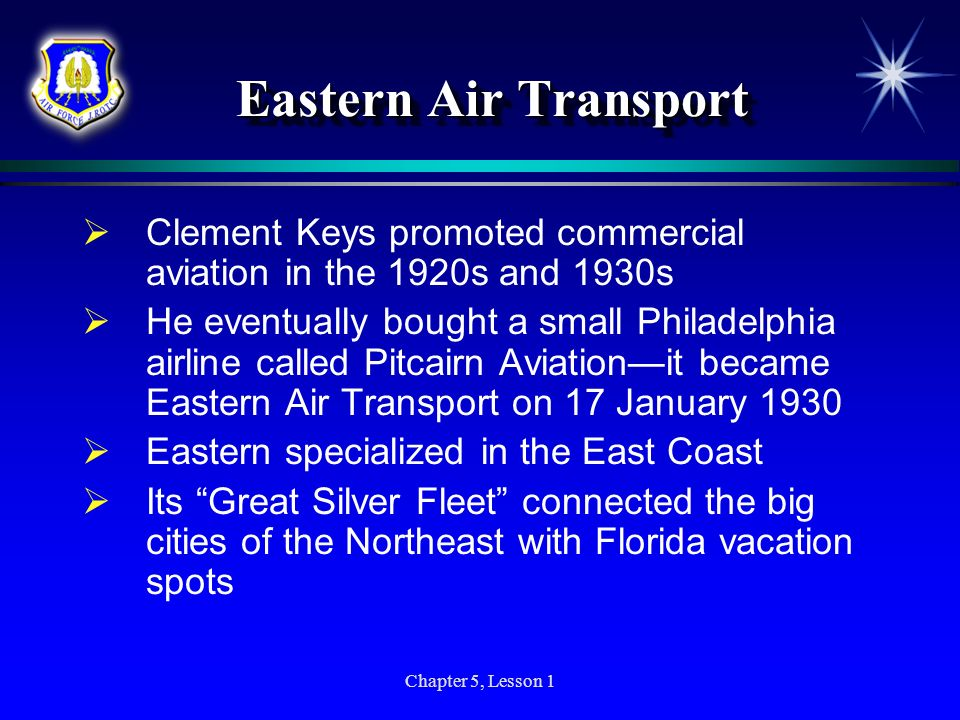 Eastern Air Transport Clement Keys promoted commercial aviation in the 1920s and 1930s.