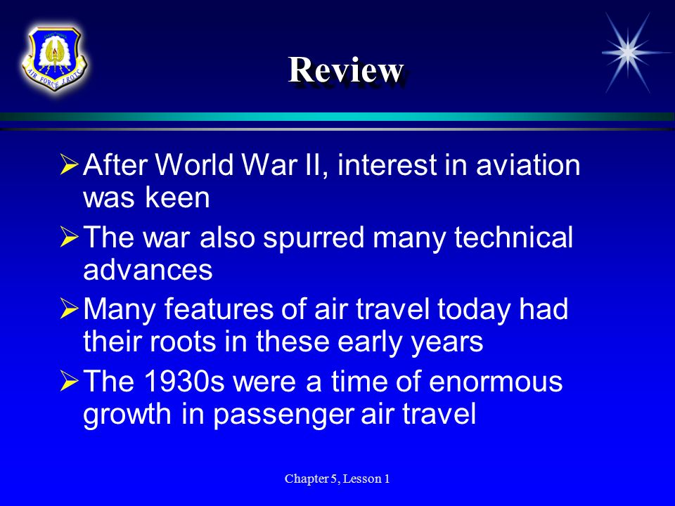 Review After World War II, interest in aviation was keen