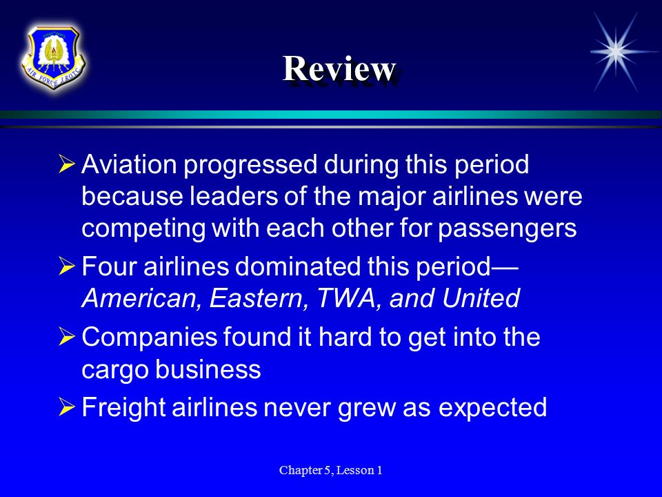 Review Aviation progressed during this period because leaders of the major airlines were competing with each other for passengers.