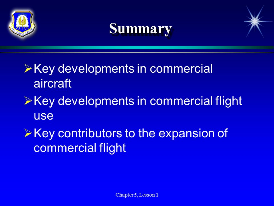 Summary Key developments in commercial aircraft