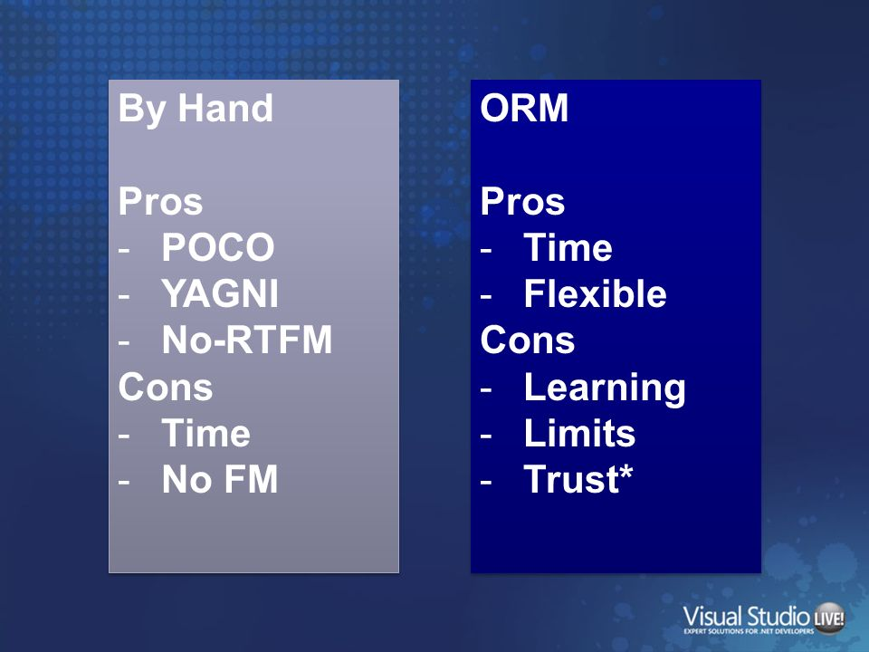 By Hand Pros POCO YAGNI No-RTFM Cons Time No FM ORM Pros Time Flexible Cons Learning Limits Trust*