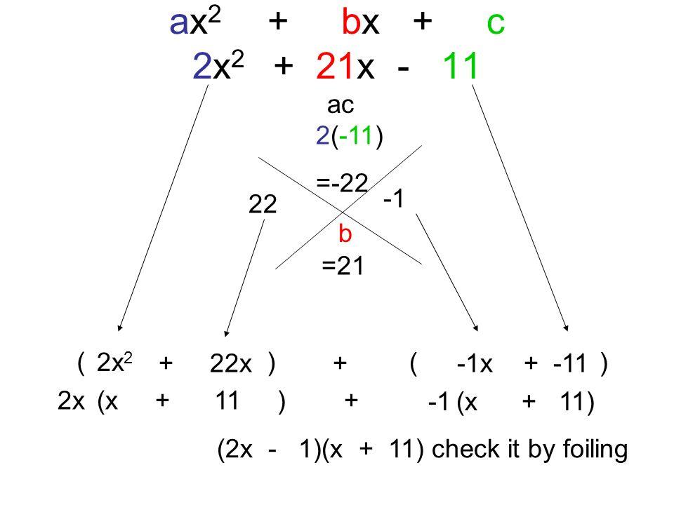 ax2 + bx + c 2x2 + 21x - 11 ac 2(-11) =-22 -1 22 b =21 ( ) 2x2 + 22x