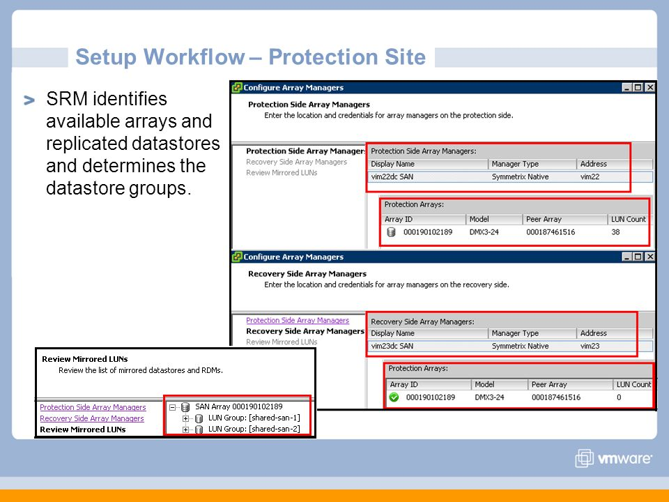 Setup Workflow – Protection Site