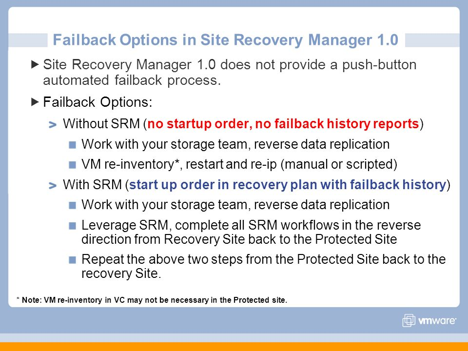 Failback Options in Site Recovery Manager 1.0