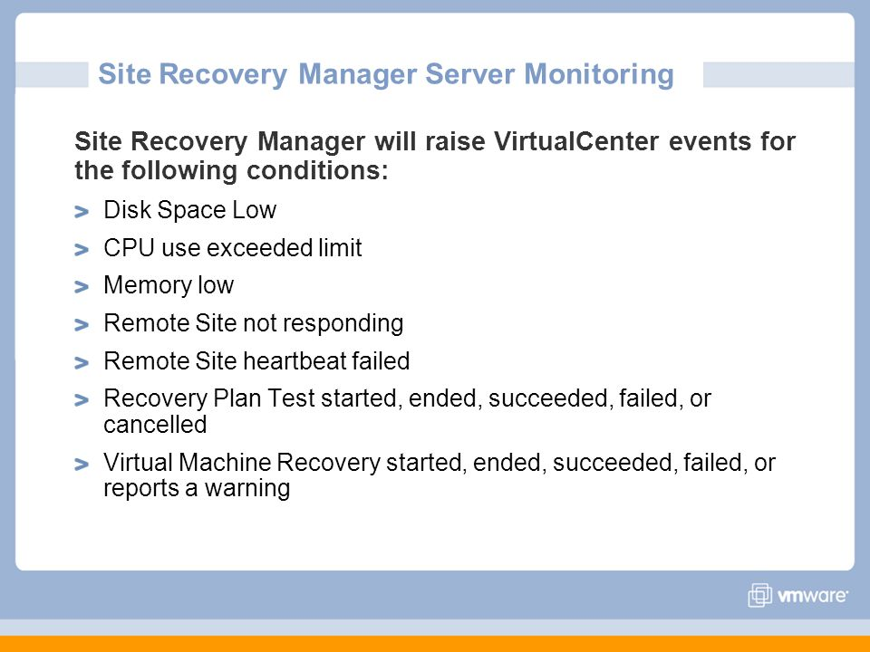Site Recovery Manager Server Monitoring