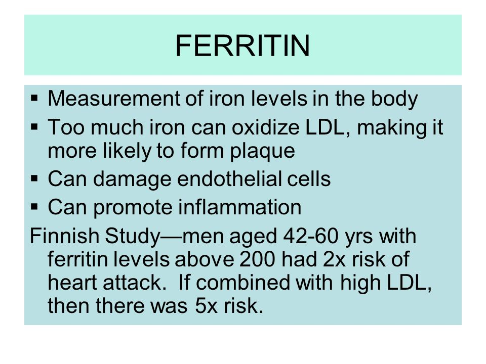 FERRITIN Measurement of iron levels in the body