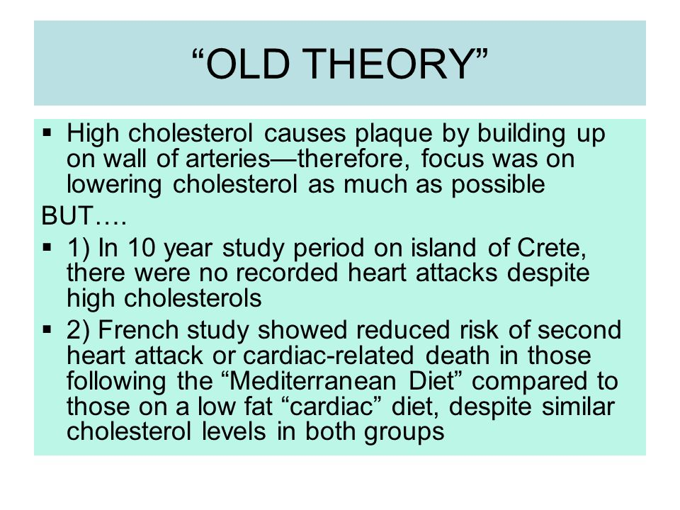 OLD THEORY High cholesterol causes plaque by building up on wall of arteries—therefore, focus was on lowering cholesterol as much as possible.