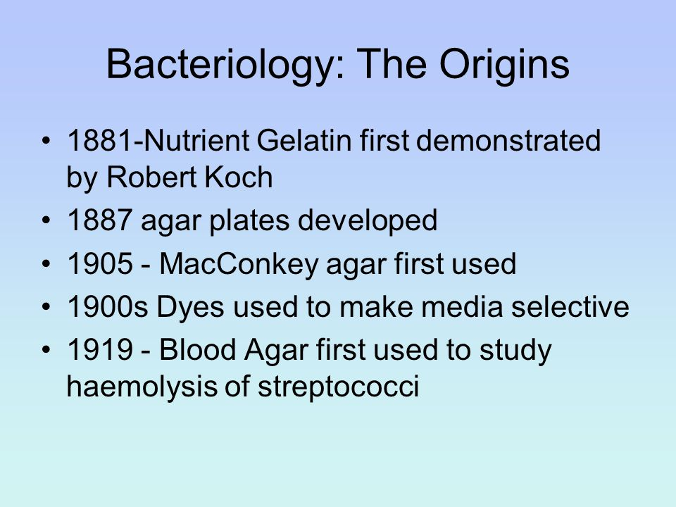 Bacteriology: The Origins