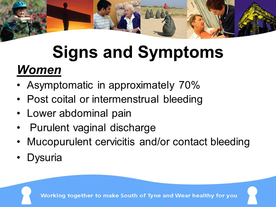 Signs and Symptoms Women Asymptomatic in approximately 70%