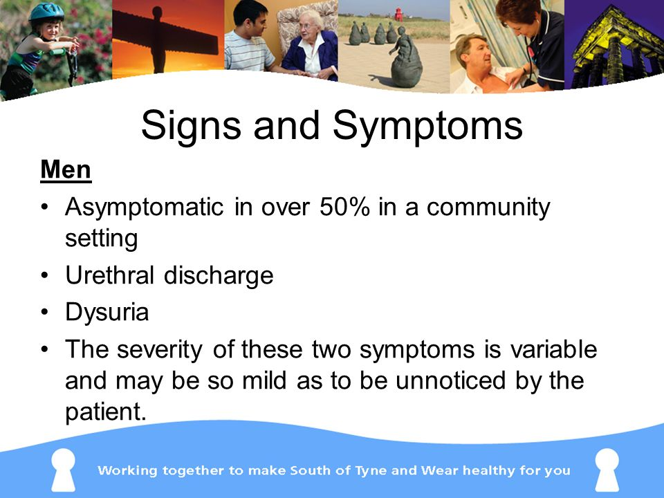 Signs and Symptoms Men Asymptomatic in over 50% in a community setting