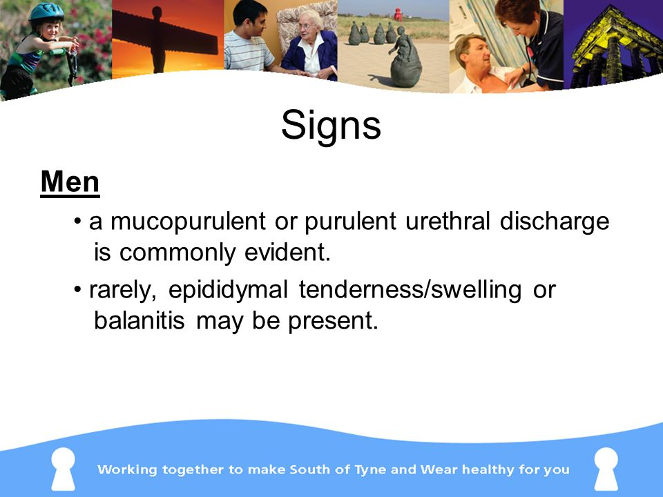 Signs Men. • a mucopurulent or purulent urethral discharge is commonly evident.
