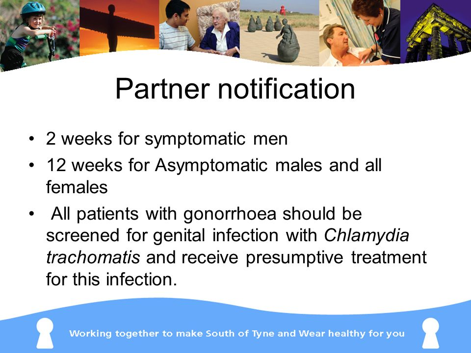 Partner notification 2 weeks for symptomatic men