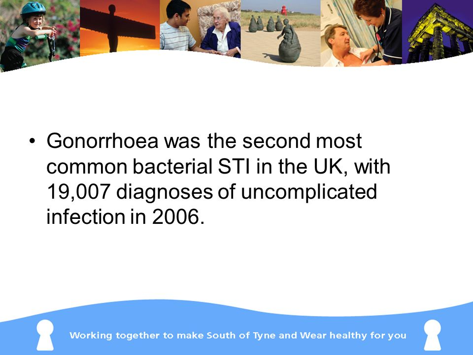 Gonorrhoea was the second most common bacterial STI in the UK, with 19,007 diagnoses of uncomplicated infection in 2006.