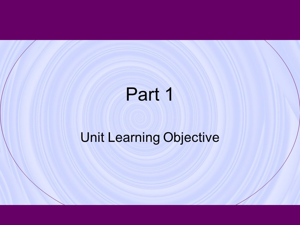 Unit Learning Objective