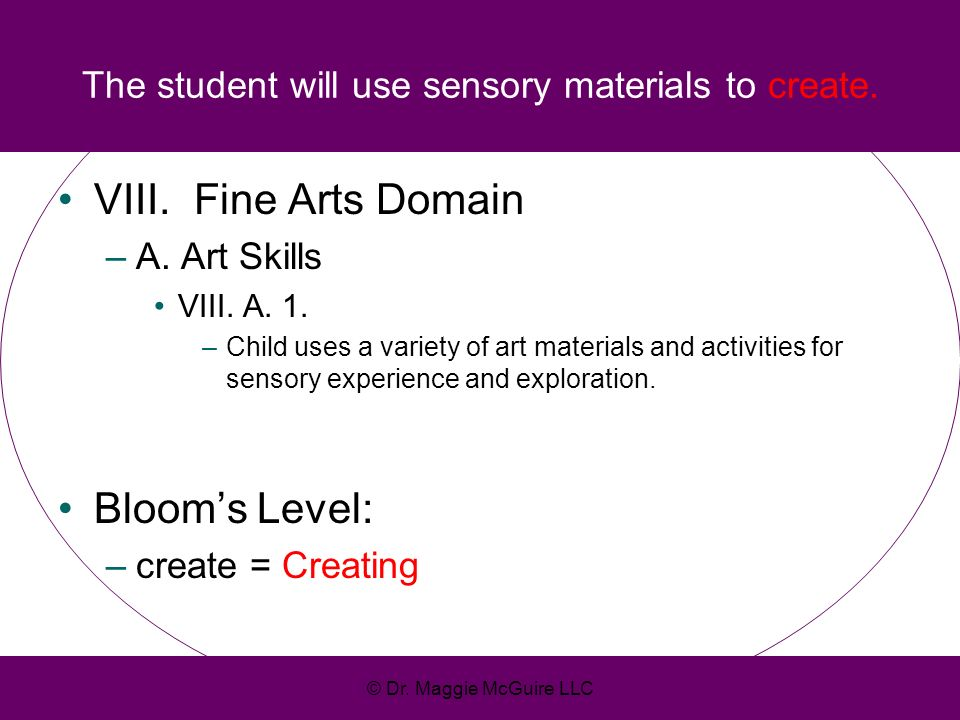 The student will use sensory materials to create.