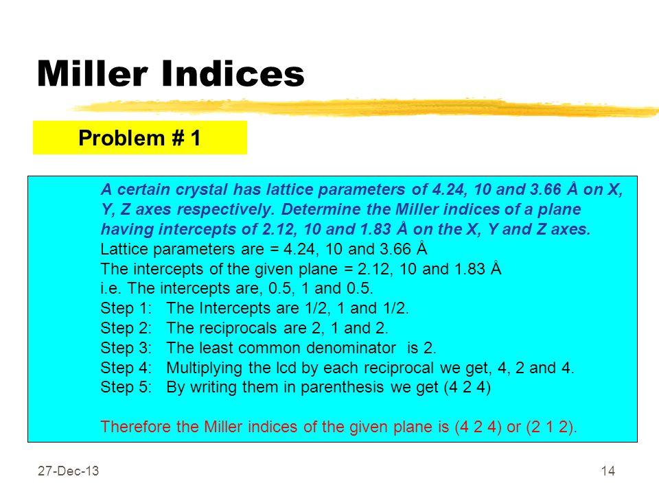 Miller Indices Problem # 1