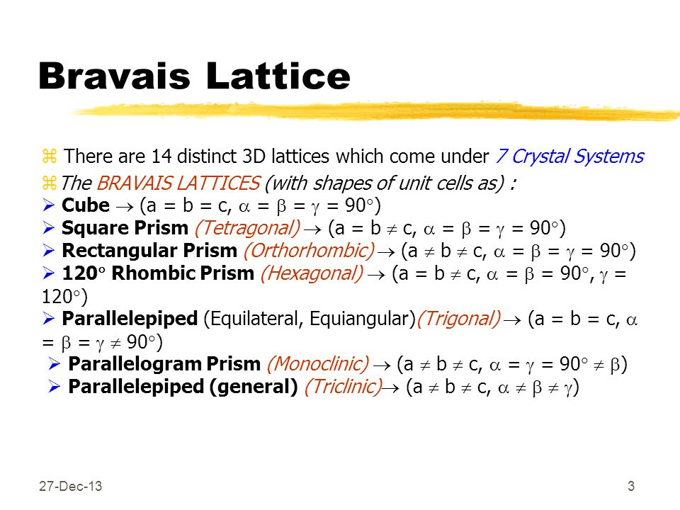 Bravais LatticeThere are 14 distinct 3D lattices which come under 7 Crystal Systems.