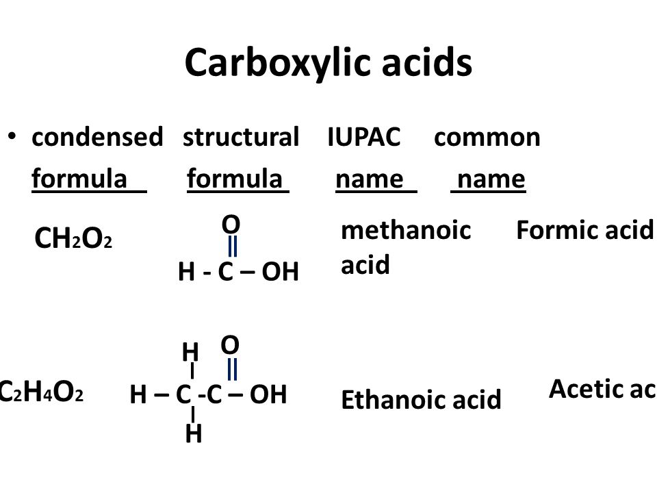 Carboxylic acids CH2O2 C2H4O2 condensed structural IUPAC common