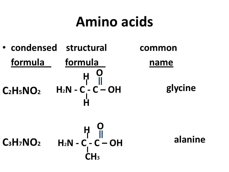 Amino acids C2H5NO2 C3H7NO2 condensed structural common