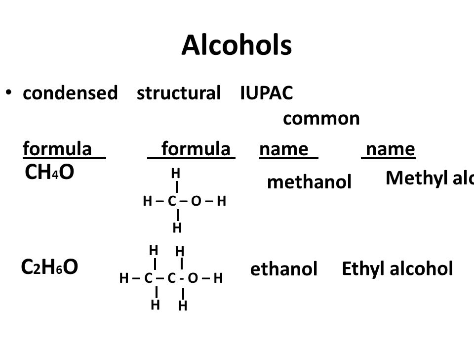 Alcohols CH4O C2H6O condensed structural IUPAC common