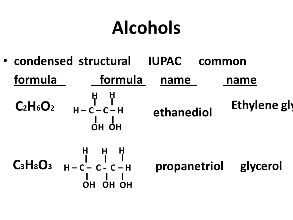 Alcohols C2H6O2 C3H8O3 condensed structural IUPAC common