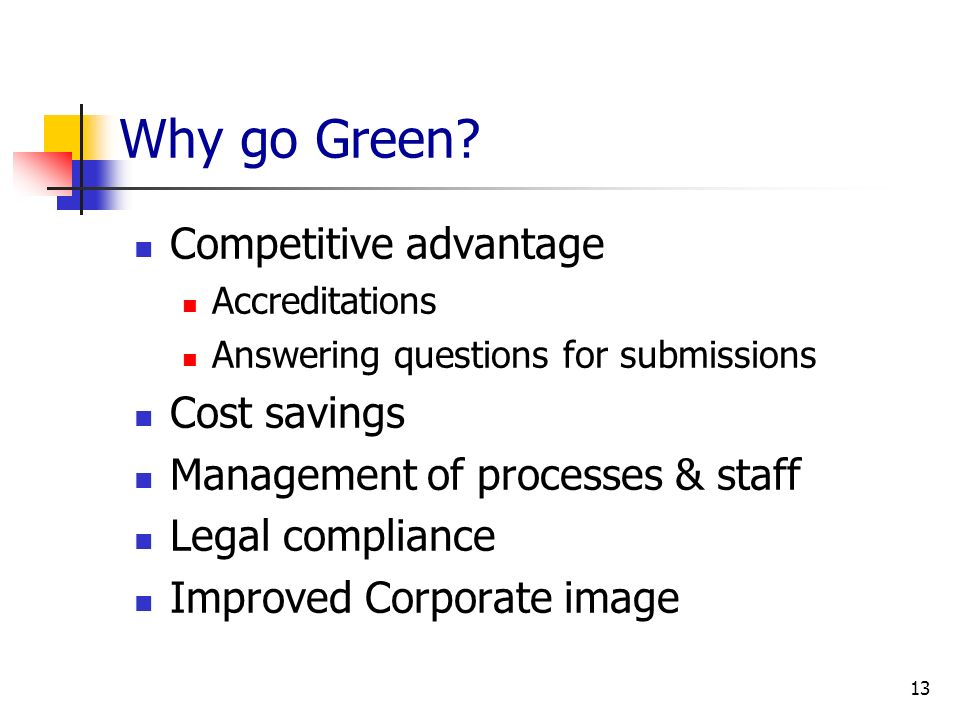 Why go Green Competitive advantage Cost savings