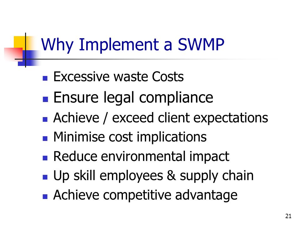 Why Implement a SWMP Ensure legal compliance Excessive waste Costs