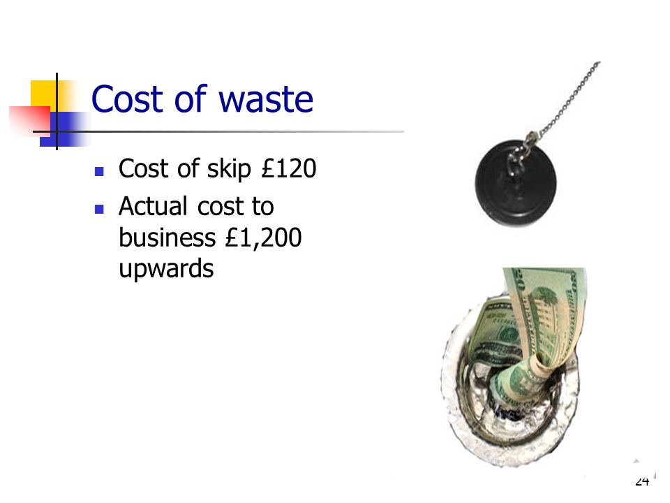 Cost of waste Cost of skip £120 Actual cost to business £1,200 upwards