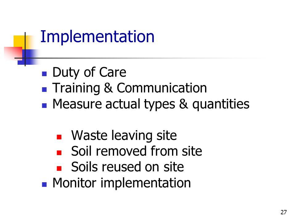 Implementation Duty of Care Training & Communication