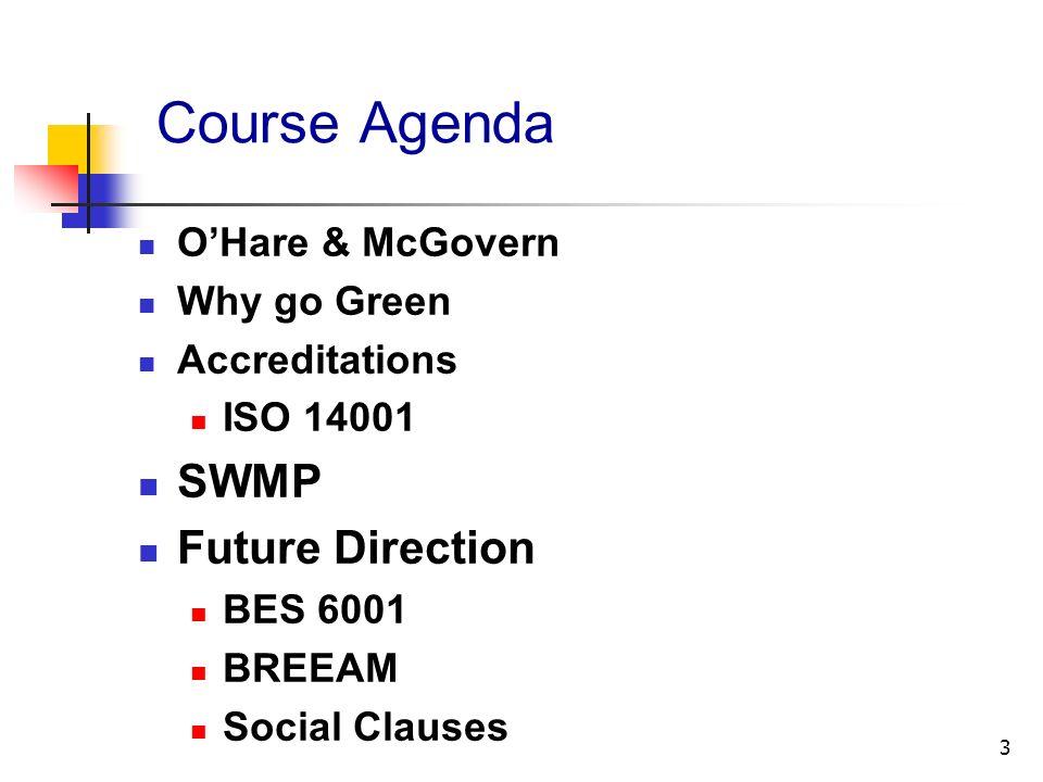 Course Agenda SWMP Future Direction O'Hare & McGovern Why go Green