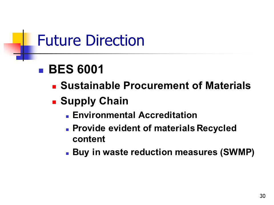 Future Direction BES 6001 Sustainable Procurement of Materials