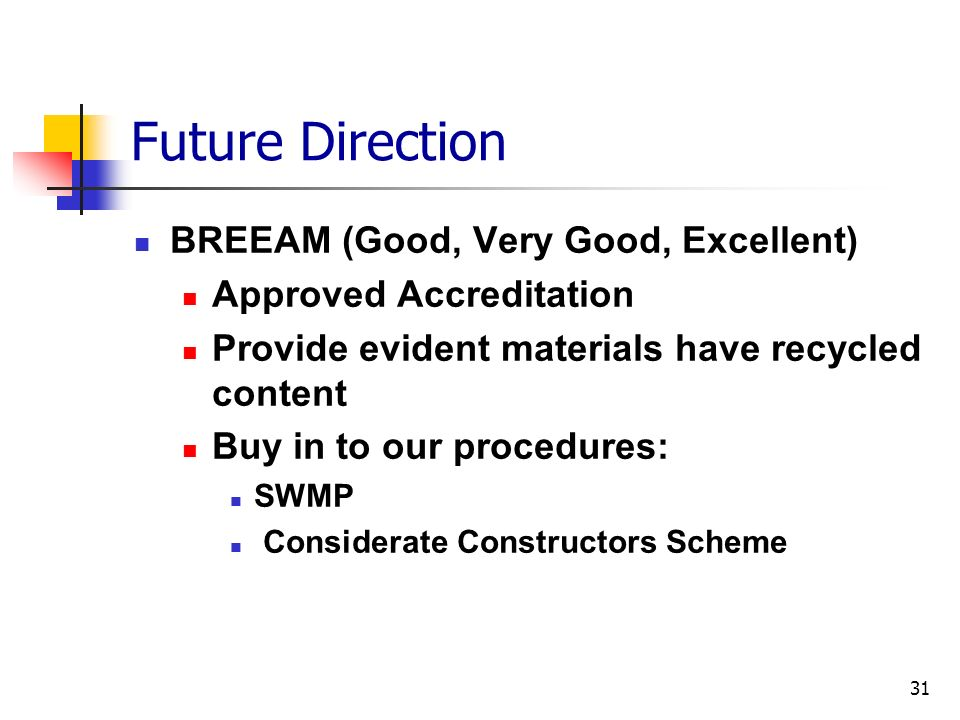 Future Direction BREEAM (Good, Very Good, Excellent)