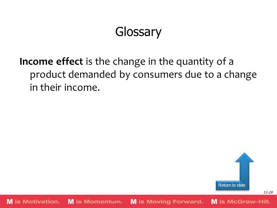 Glossary Income effect is the change in the quantity of a product demanded by consumers due to a change in their income.