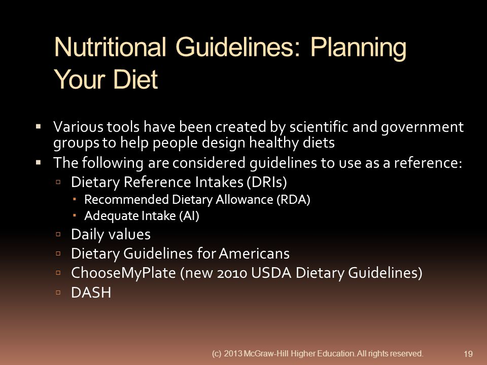 Nutritional Guidelines: Planning Your Diet