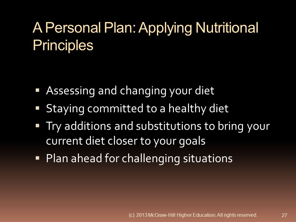 A Personal Plan: Applying Nutritional Principles