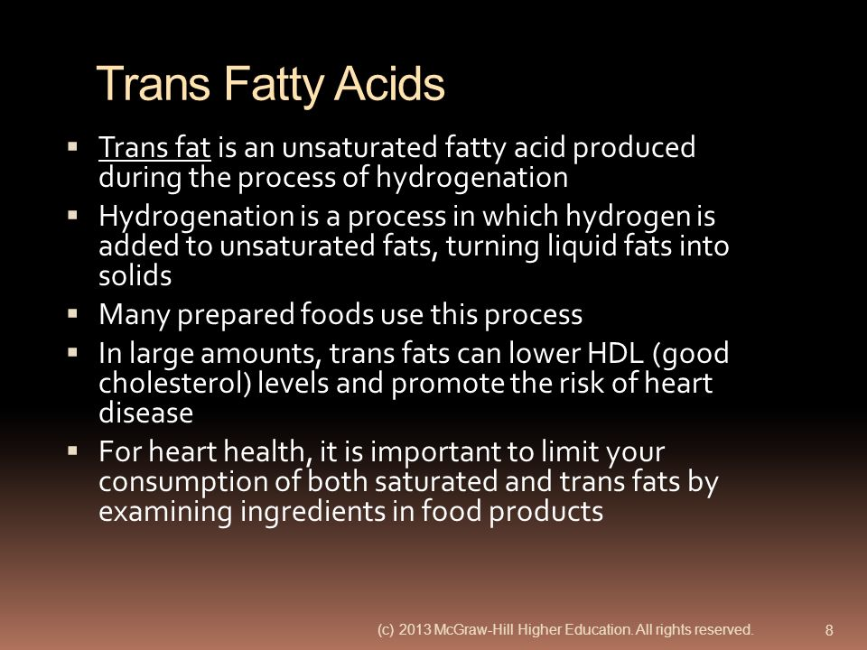 Trans Fatty Acids Trans fat is an unsaturated fatty acid produced during the process of hydrogenation.