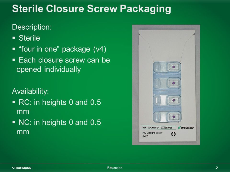 Sterile Closure Screw Packaging