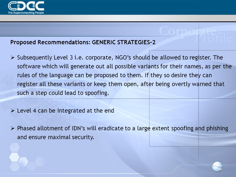 Proposed Recommendations: GENERIC STRATEGIES-2