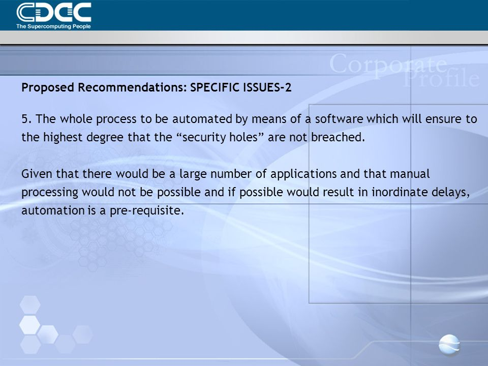 Proposed Recommendations: SPECIFIC ISSUES-2