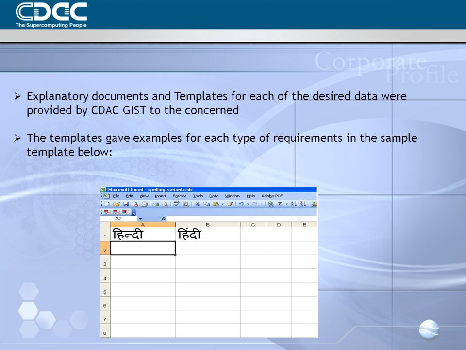 Explanatory documents and Templates for each of the desired data were provided by CDAC GIST to the concerned