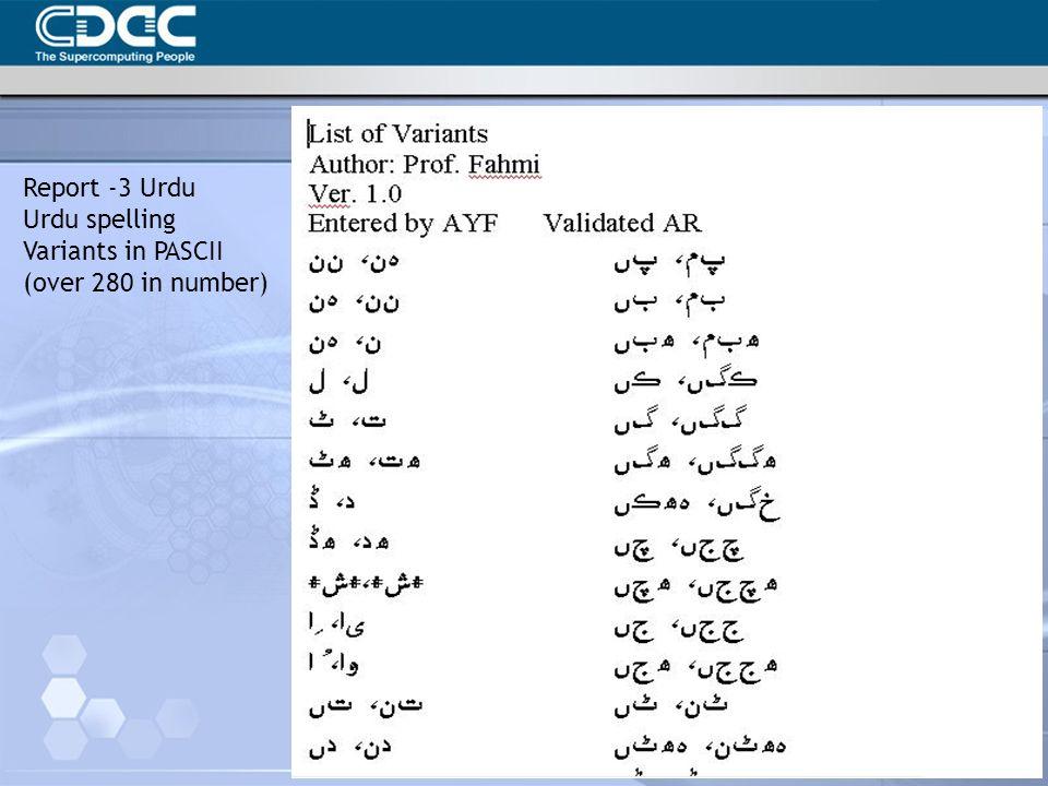 Report -3 Urdu Urdu spelling Variants in PASCII (over 280 in number)