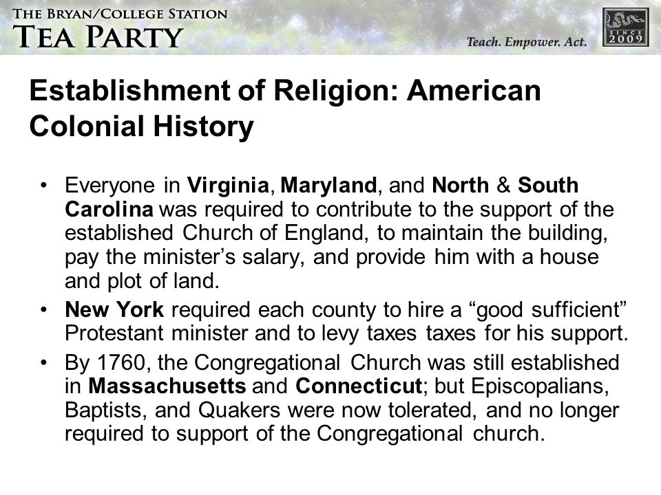 Establishment of Religion: American Colonial History