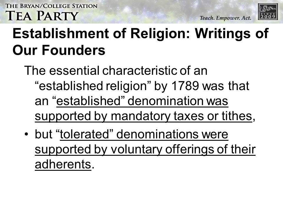 Establishment of Religion: Writings of Our Founders