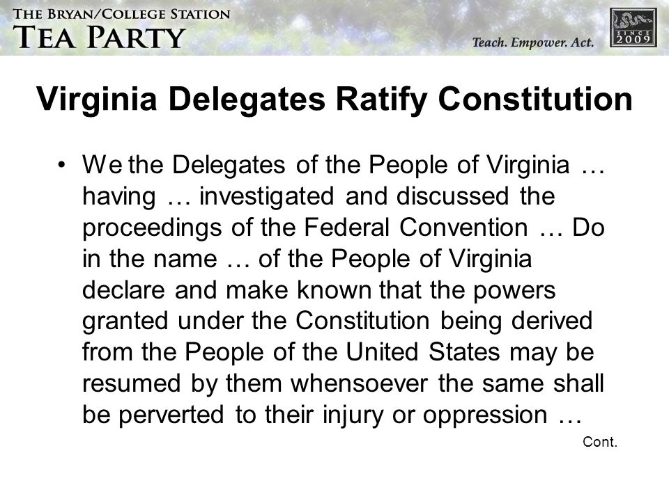 Virginia Delegates Ratify Constitution