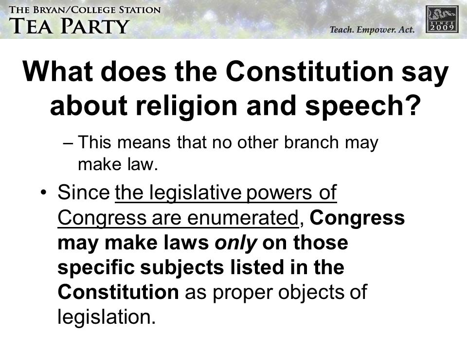 What does the Constitution say about religion and speech