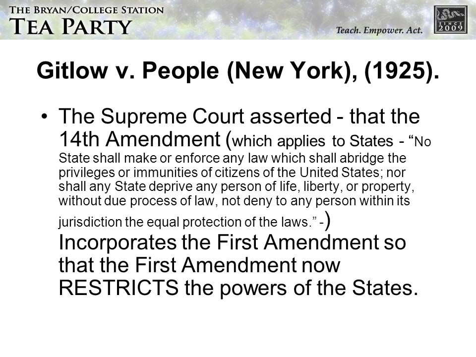 Gitlow v. People (New York), (1925).