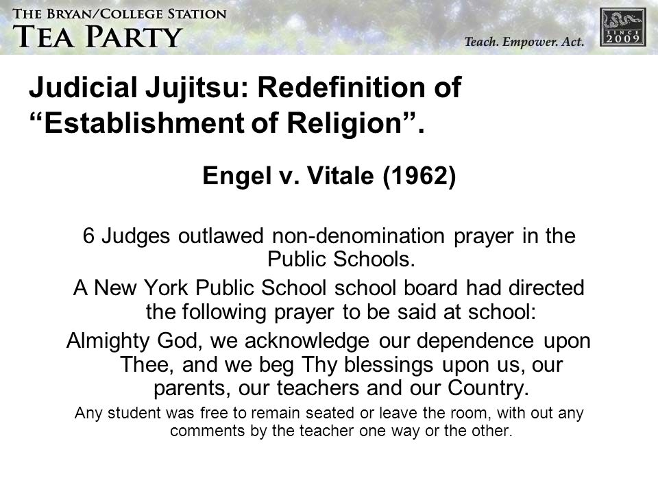Judicial Jujitsu: Redefinition of Establishment of Religion .